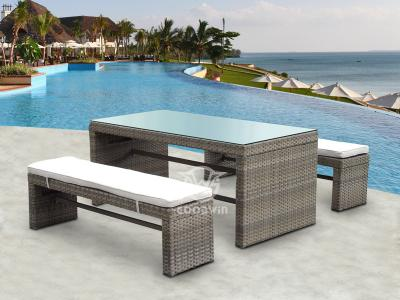 Rattan Bench Dining Set