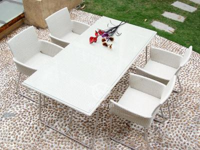 White Rattan Dining Set