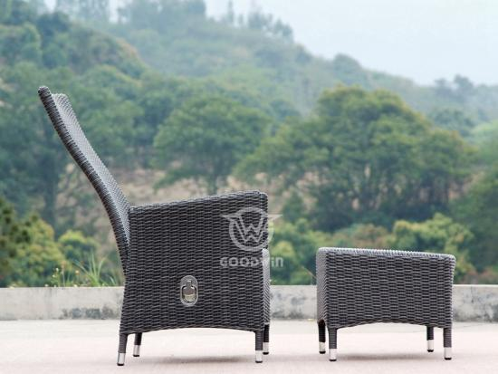 PE Wicker Chair With Footstool